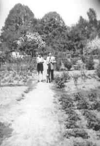 Gartenszene mit Hund